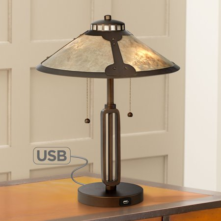 Franklin Iron Works Mission Desk Table Lamp with Hotel Style USB Charging Port Industrial Rubbed Bronze Natural Mica Shade for Bedroom Office Beige Mission Desk Lamp