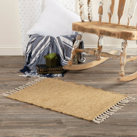Natural Tan Farmhouse Flooring Veranda Burlap Tan Cotton Knotted Tassels Textured Rectangle Accent Rug