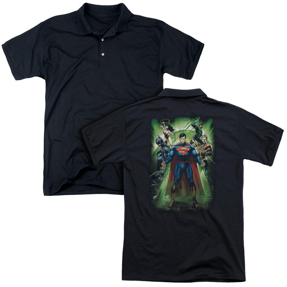 DC Comics Justic League Of America Power Burst Adult Back Print Polo T-Shirt