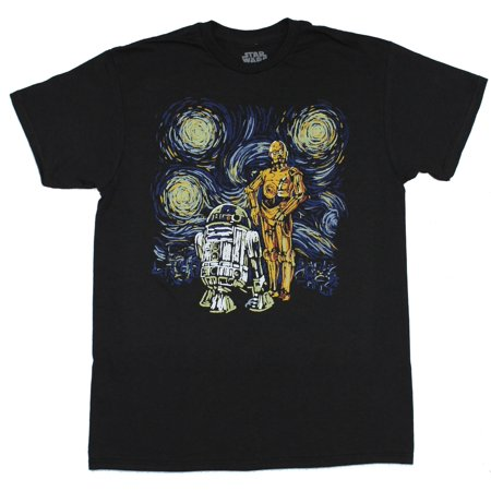 Star Wars Mens T-Shirt - Starry Night C3PO and R2D2 Image](C 3 Po)
