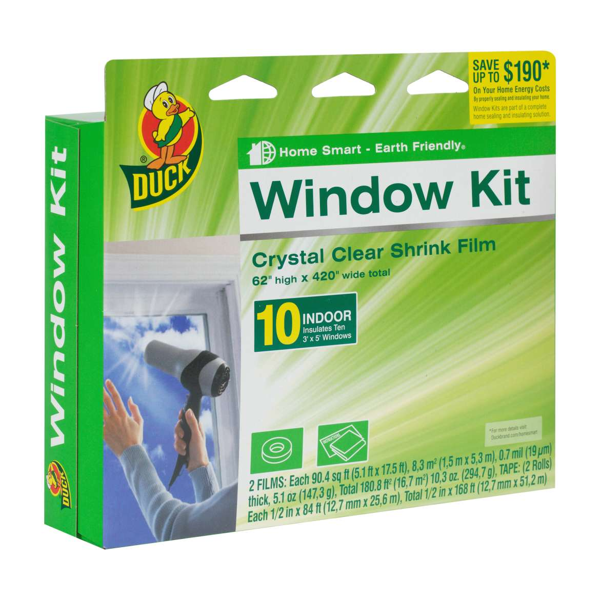 Duck Brand Shrink Film Indoor Window Kit, 10 pack, Clear Image 1 of 3