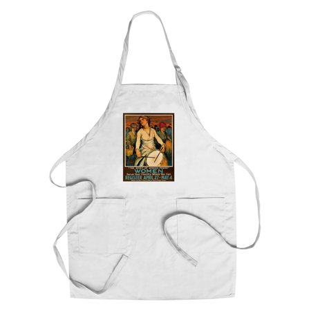 The Spirit of Woman - Power Vintage Poster (artist: Paul Honore) USA c. 1918 (Cotton/Polyester Chef's Apron) (Spirit Usa)