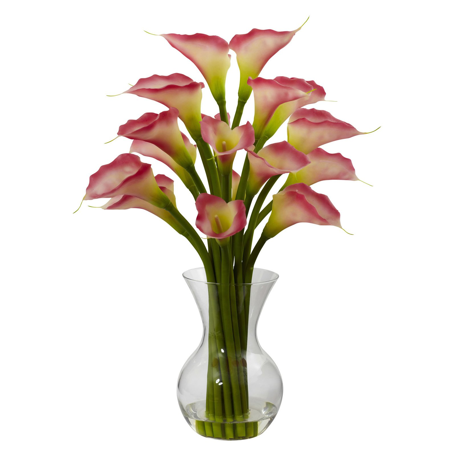 Nearly Natural Galla Calla Lily with Vase Arrangement, Pink