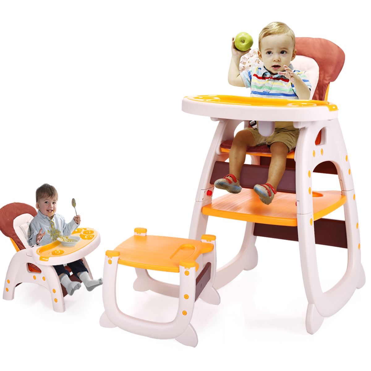 Lazymoon Yellow 3 in 1 Baby High Chair Convertible Play Table Seat Booster Infant Toddler Highchairs by Lazymoon