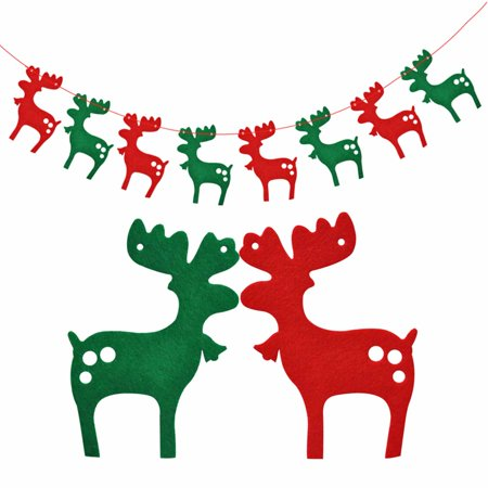 DIY Christmas Elk Reindeer Bunting Hanging Garland Banner String Party Flag Home Office Holiday Decoration (Party City In Elk Grove)