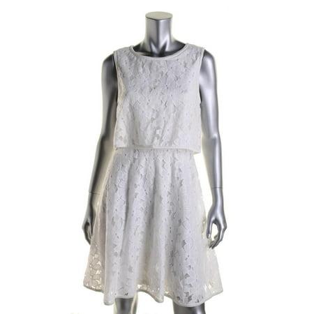Betsey Johnson Womens Juniors Lace Contrast Trim Semi Formal Dress