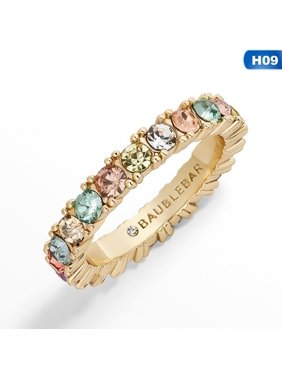 KABOER Beautiful Women`S Copper Cz Gold Crown Rainbow Rings Geometry Wedding Engagement Ring Femme For Party Gift Charm Rhinestone Jewelry