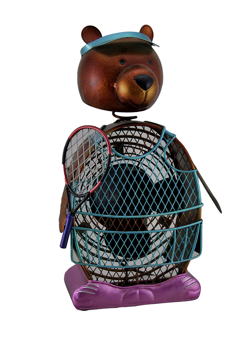 Bobble Headed Tennis Bear Decorative Metal Figurine Fan 13 in. by CWC Inventories