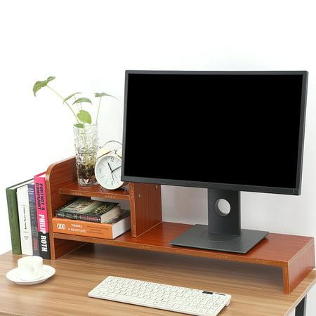 Computer Monitor Riser Stand Laptop Desktop Wooden Storage Organizer Shelf Red Walnut Com