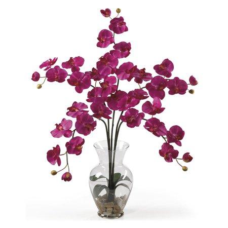 Nearly Natural Phalaenopsis Liquid Illusion Silk Flower Arrangement, Beauty