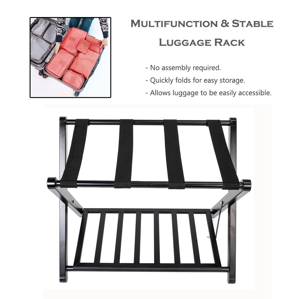 Urhomepro Luggage Racks For Suitcases Folding Luggage Rack Stand With Shoe Shelf Heavy Duty Suitcase Stable Durable Racks Baggage Holder For Home Bedroom Guestroom Hotel Rooms Solid Wood I5922 Walmart Com