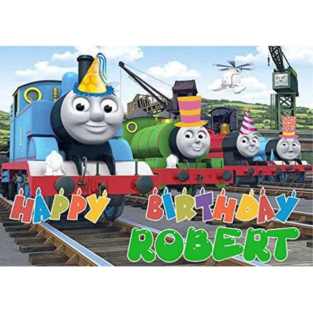THOMAS THE TRAIN Tank Engine Edible Cake Topper Personalized Birthday 1/4 Sheet Decoration Custom Sheet Birthday Frosting Transfer Fondant Image for $<!---->