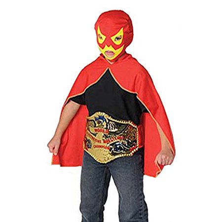 Childrens Luchador Mexican Lucha Libre Red & Yellow Wrestling Mask & Cape - Lucha Libre Halloween Costume
