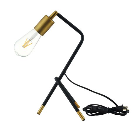 Industrial Country Cottage Farm Beach House Living Lounge Kitchen Room Table Desk Lamp Light, Metal Steel, Black Gold