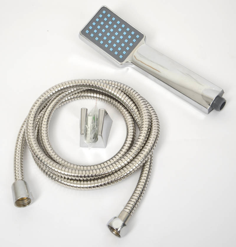 Evideco Modern Hand Held Shower Head with Stainless Steel Hose Set, Silver