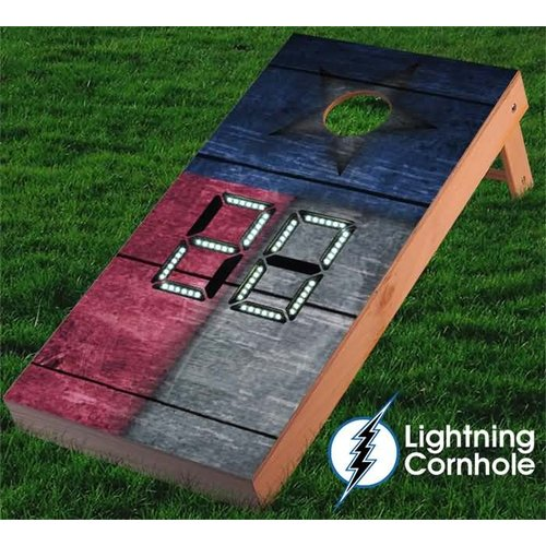 Lightning Cornhole Electronic Scoring Texas Flag Wooden Cornhole Board