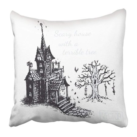 BPBOP Black Autumn the Old Scary House and Tree Sketch Drawn with Ink Vintage Design for Halloween Gray Pillowcase 18x18 inch](Scary Trees For Halloween)