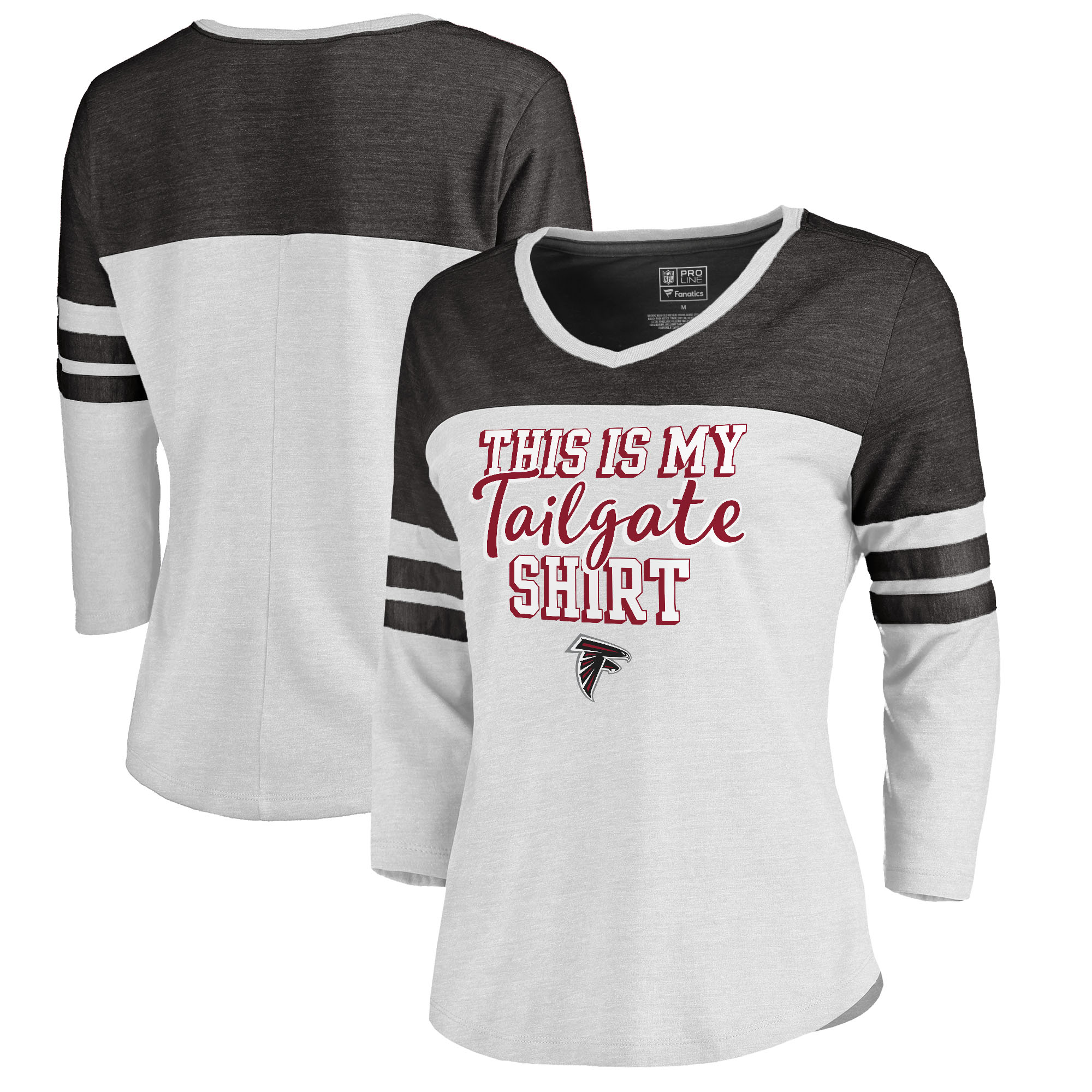 Atlanta Falcons NFL Pro Line by Fanatics Branded Women's Plus Size Air Color Block Tri-Blend 3/4-Sleeve T-Shirt - White