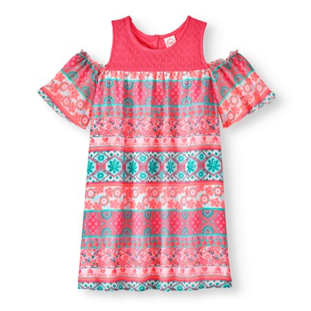 Girls' Lace Yoke Cold Shoulder Dress for $<!---->