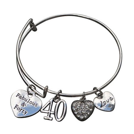 40th Birthday Gifts for Women, 40th Birthday Expandable Charm Bracelet, 40th Birthday Ideas, Gift for Her