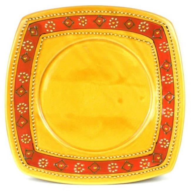 Encantada Hand - Painted Square Plate, Honey