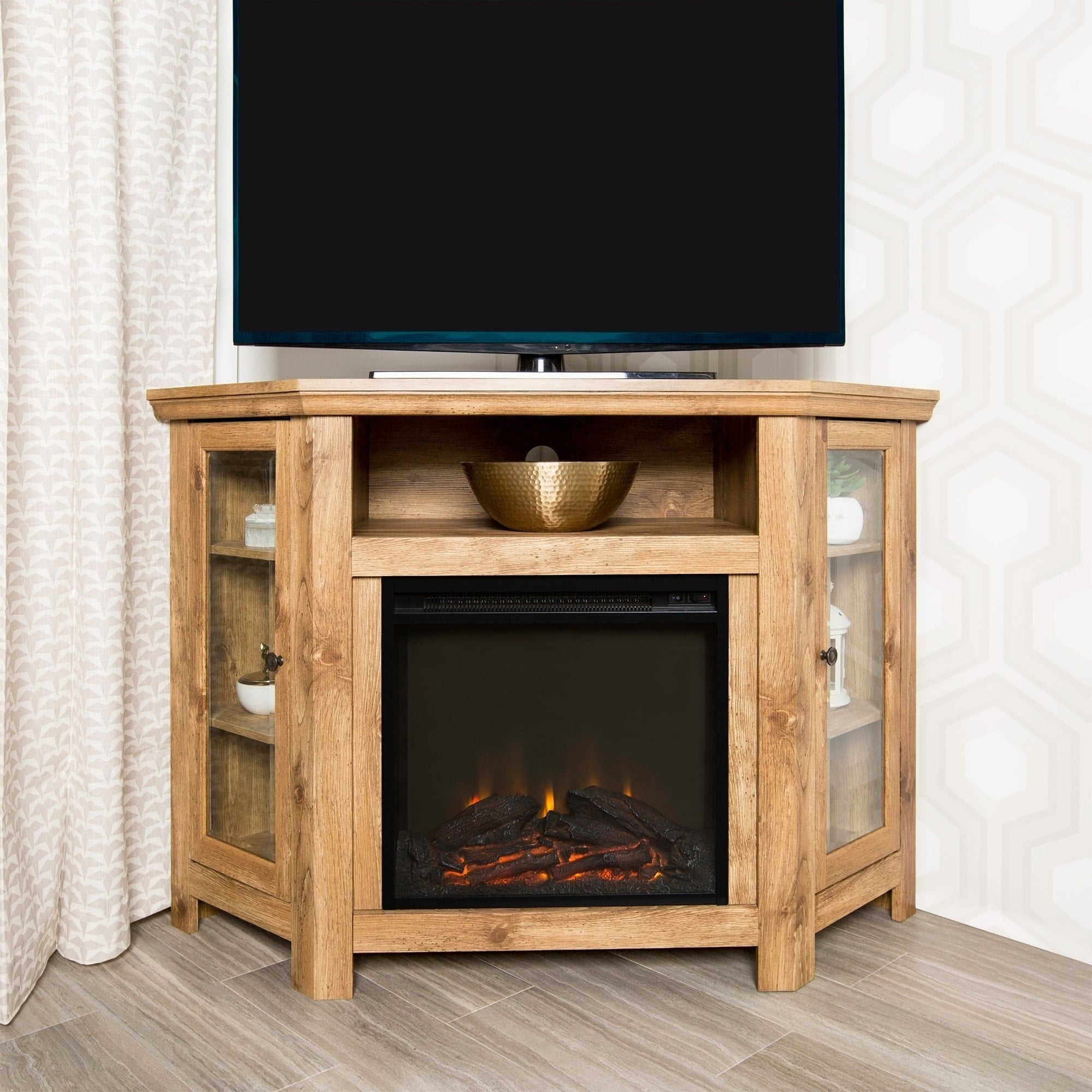 """WE Furniture 48"""" Corner Fireplace TV Stand Console - Barnwood - 48 x 20 x 32h"""