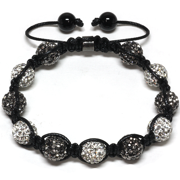 Iced Out 10mm Black and White Beaded Adjustable Bracelet