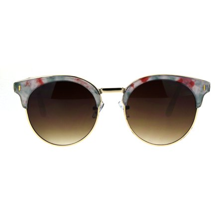 Womens Retro Half Rim Hipster Horned Chic Double Rim Sunglasses White Red Marble Brown](Retro 12 Red And White)