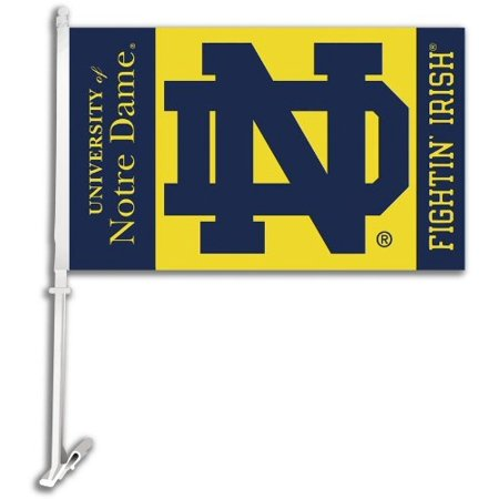 Nd Fighting Irish (NCAA Notre Dame Fighting Irish Car Flag ND Logo with Free Wall)