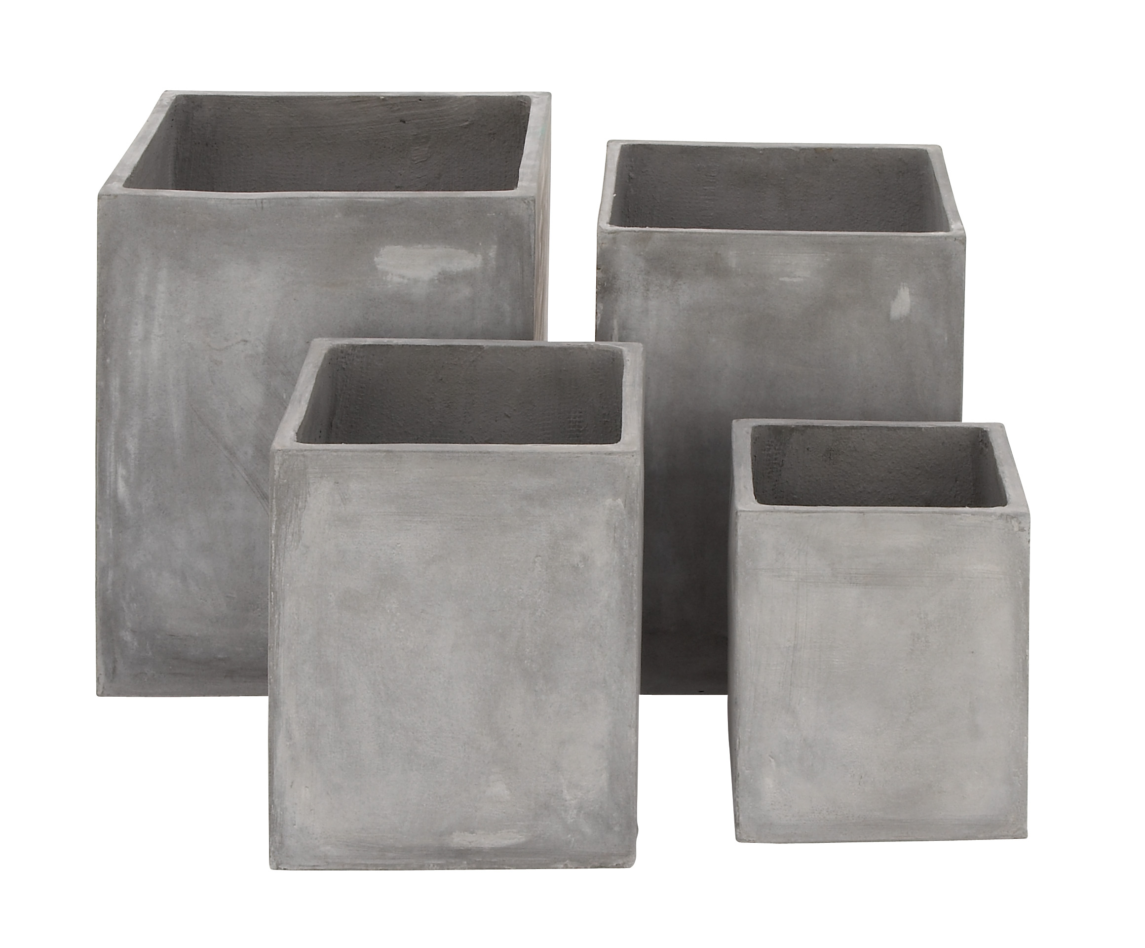 Decmode Set of 4 Square Fiber Clay Planters, Gray by DecMode