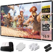Projector Screen 150 inch, 4K Movie Projector Screen 16:9 HD Foldable and Portable Anti-Crease Indoor Outdoor Projection Double Sided Video Projector Screen for Home, Party, Office, Classroom