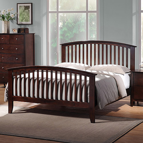 Metropolitan Wooden Modern Queen Bed, Dark Brown