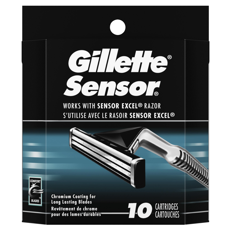 Gillette Sensor Men's Razor Blade Refills, 10 Count