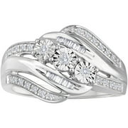 1/4 Carat T.W. Diamond Sterling Silver Three-Stone Bypass Right-Hand Ring