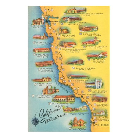 Map of the Missions, California Print Wall Art