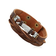 """Men's Brown Leather Wing Charm Double Strand Cuff Bracelet (22mm) - 8"""""""