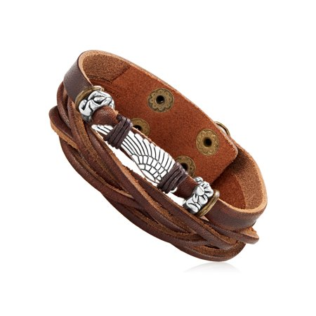 Men's Brown Leather Wing Charm Double Strand Cuff Bracelet (22mm) - 8