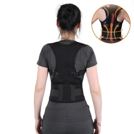 Lumbar Back Brace Posture Corrector Belt, Prevents Slouching Sit Work, Lower and Upper Adjustable Support Band Relieve Neck Spine Pain Thoracic Pressure