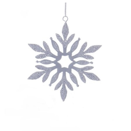 """4"""" Decorative Metal Silver Snowflake with Small Star Center Hanging Christmas Ornament"""