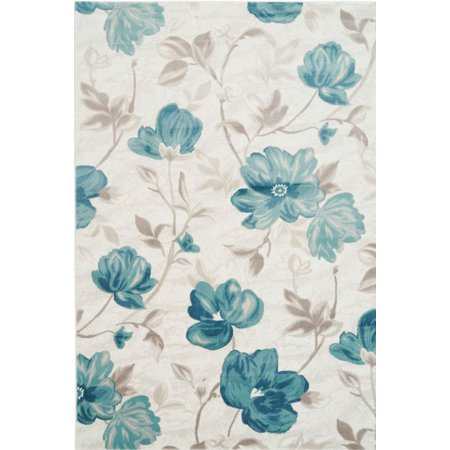 Ladole Rugs Inspiration Collection Begonia Machine Made Floral Pattern Area Rug Carpet in Blue Cream, 4x6 (3'11