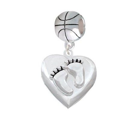 Baby Feet Heart Locket - Basketball Charm Bead