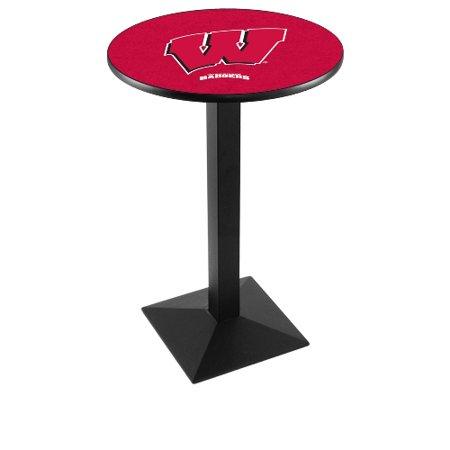 NCAA Pub Table by Holland Bar Stool, Black - Wisconsin Badgers W Logo, 36