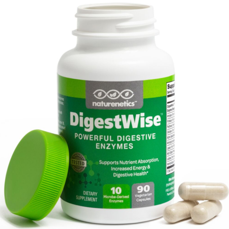 DigestWise by Naturenetics Digestive Enzymes - 1 Before Each Meal See How Good You Feel - 10 Enzymes - Proteolytic - Vegan - Gluten-Free - With Lipase Lactase Amylase