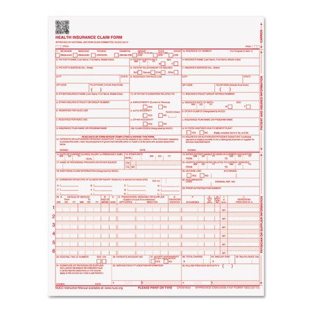 Paris Corporation Cms 02 12 Insurance Claim Form  8 1 2 X 11  250 Forms