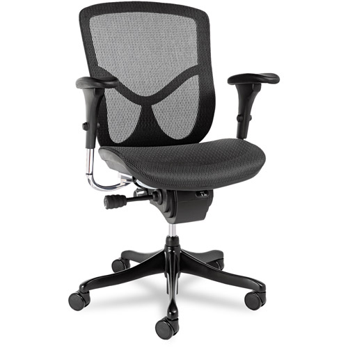 Alera EQ Series Ergonomic Multifunction Mid-Back Mesh Chair, Aluminum