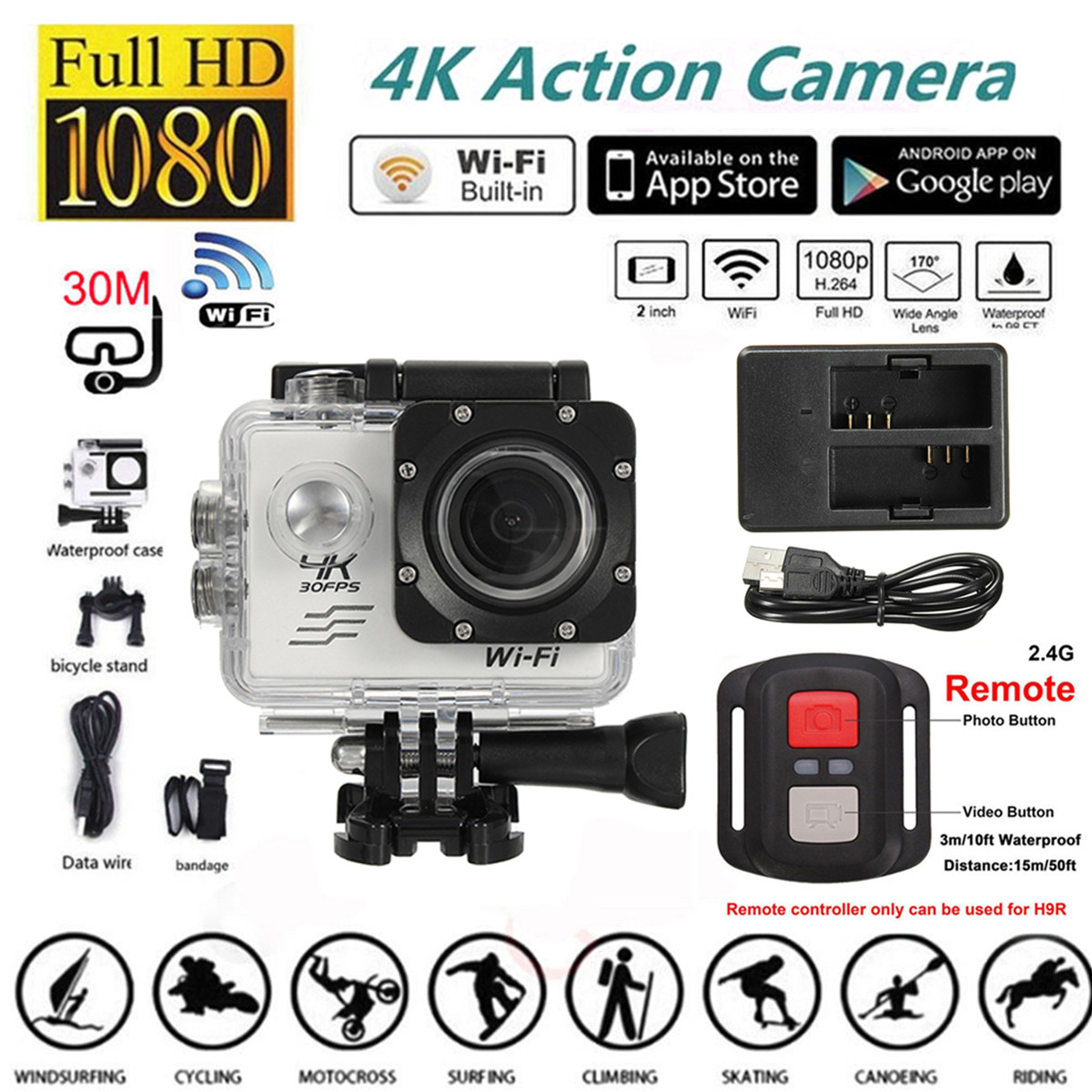 """2"""" 4K WIFI Sports Action Camera Waterproof Sport Camcorders Cam Cam DVR 170 Degree Wide Angle Lens with Remote Control"""
