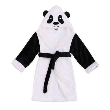 Zoo Fuzzy Sherpa Lined Hoody Animal Bathrobe Robe,Panda,XL 10-12 Years](Panda Pajamas)