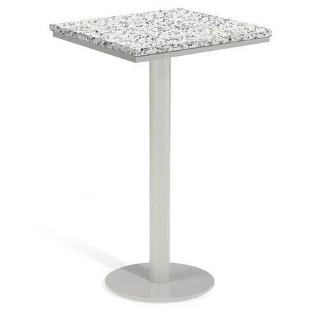 Travira 36u0022 Square Patio Bar Table - Powder Coated Steel Frame - Lite-Core Granite Ash Top - Oxford Garden