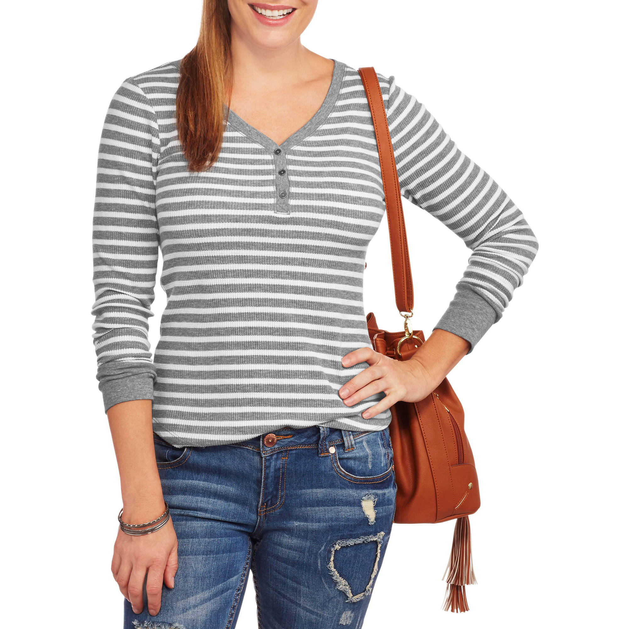 Faded Glory Women's Long Sleeve Thermal Henley
