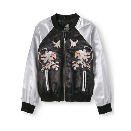 Embroidered Satin Bomber Jacket (Big Girls) (Bomber Jacket Costume)